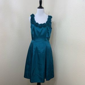 Alex Marie Sleeveless Rosette Neckline Teal Dress